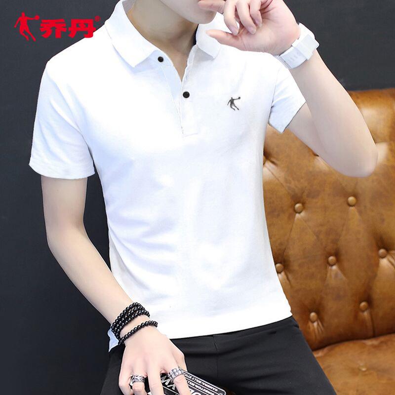 乔丹短袖t恤男 夏季新款休闲白色半袖男装宽松翻领速干运动polo衫