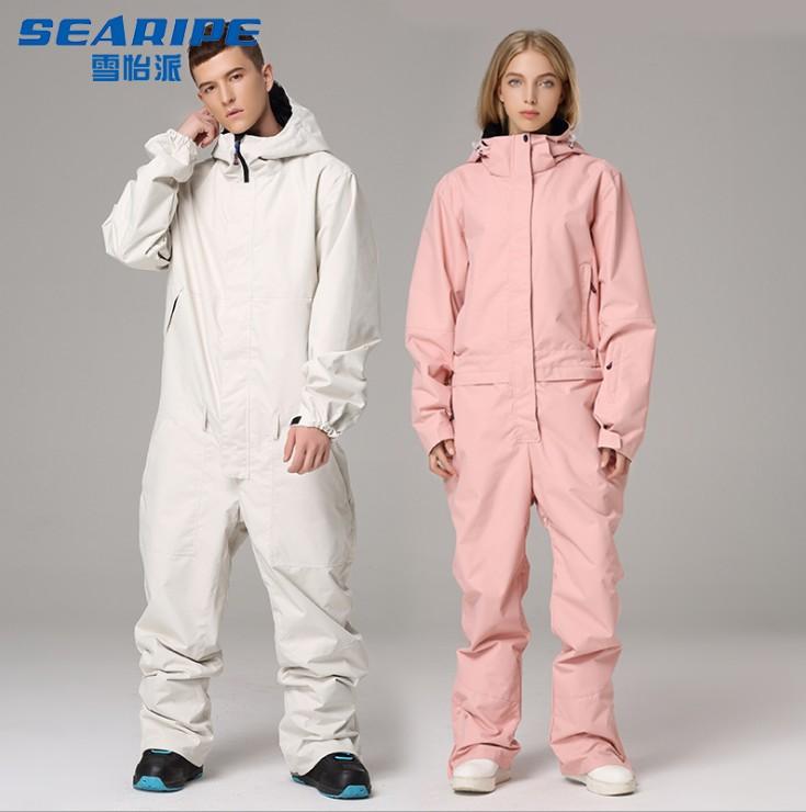 SEARIPE雪怡派 新品双板单板连体滑雪服防水防风滑雪衣裤套装男女