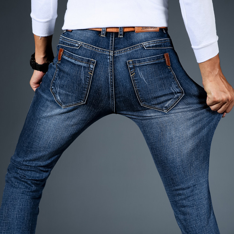 秋鼕款鼕季牛仔褲男士直筒修身彈力青年寬松休閑加絨加厚褲子男褲