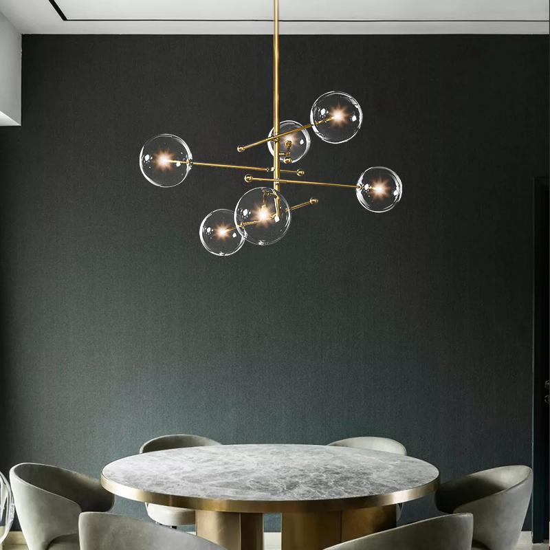 北欧后现代轻奢玻璃球吊灯设计师时尚魔豆个性极简客厅餐厅灯具_迪澳灯饰
