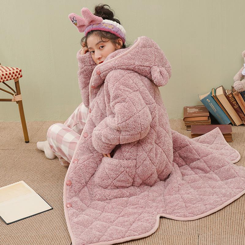 睡袍女秋冬季睡衣家居服珊瑚绒法兰绒三层夹棉加厚长款可外穿浴袍