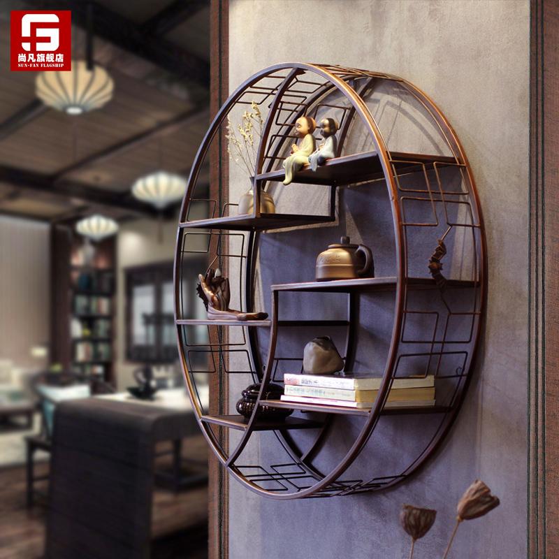 创意中式禅意壁挂客厅玄关墙壁铁艺挂饰墙面装饰品餐厅墙上置物架