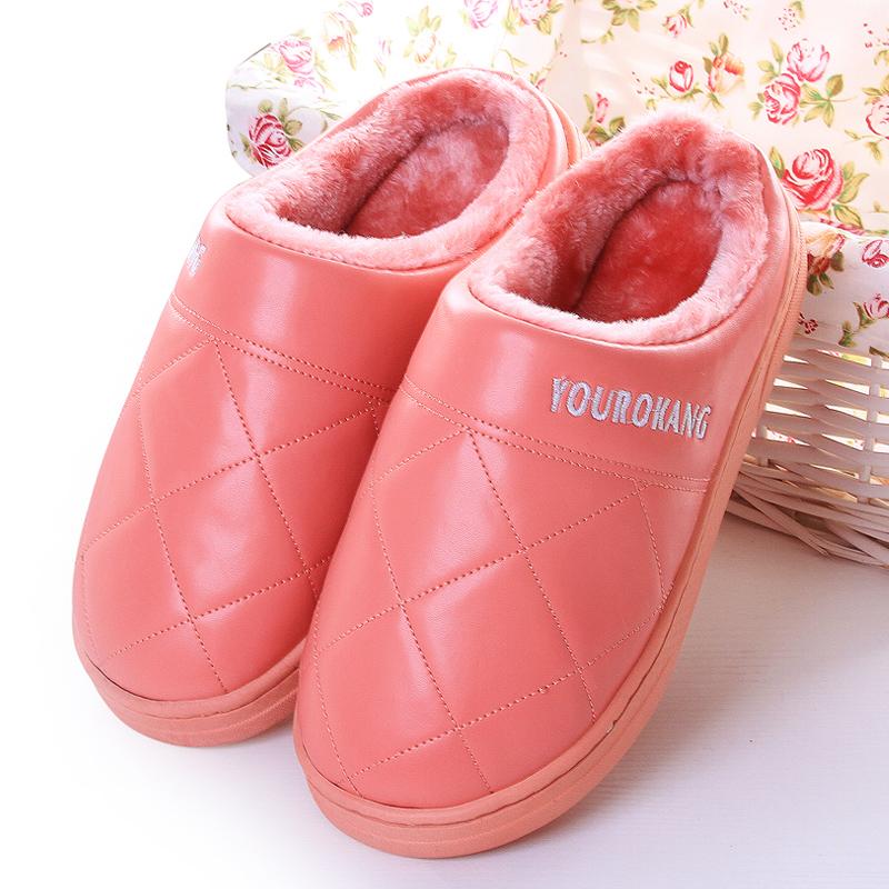 棉拖鞋2019新款家用女士秋冬室内防滑保暖韩版PU软底半包跟棉鞋男
