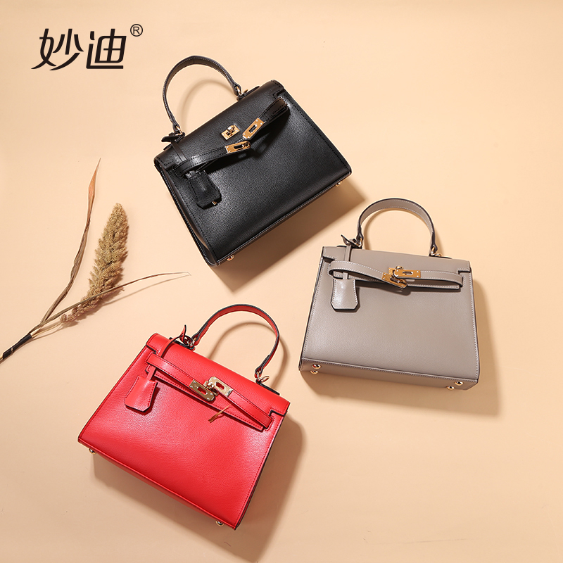 妙迪牛皮凯莉包女2017新款铂金手提包单肩斜挎包大红色包包结婚包
