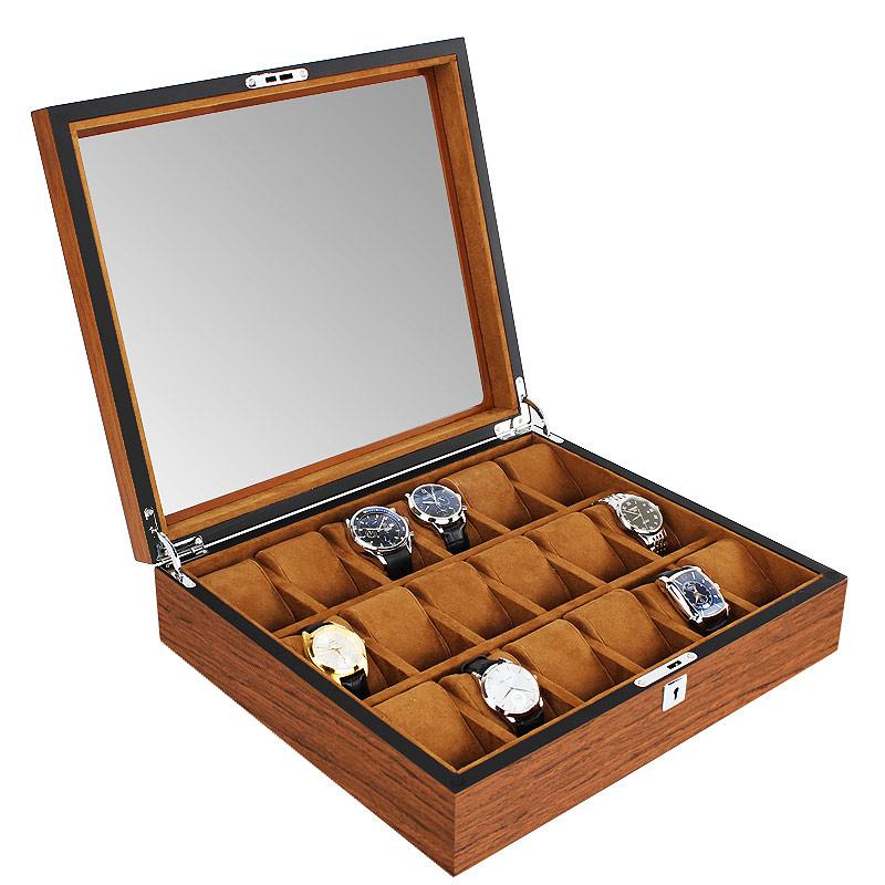高档木质手表盒简约收纳盒收藏盒男女士机械手表盒带锁大容量家用