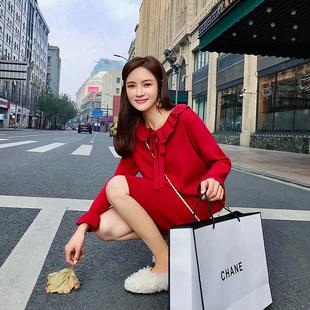 2019新款法国小众大红色针织连衣裙女春法式维多利亚复古小红裙子