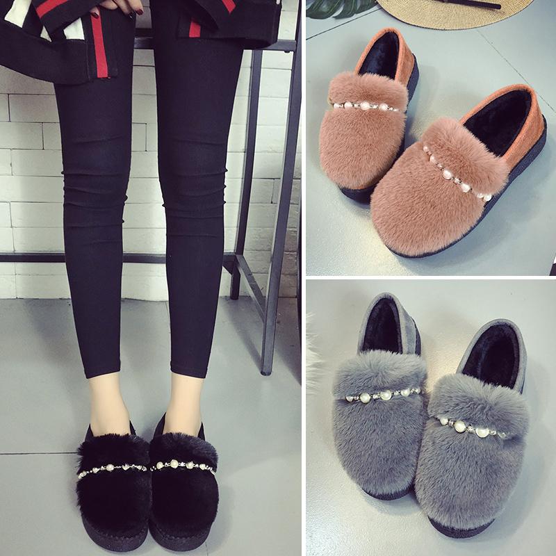 棉鞋学生冬季懒人韩版月子鞋一脚蹬毛毛加绒外穿豆豆鞋社会女款士