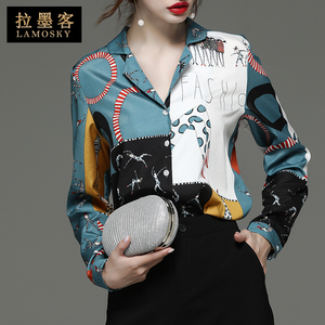Top design sense niche 2020 spring new women's tide foreign style printing long-sleeved chiffon shirt fashion shirt