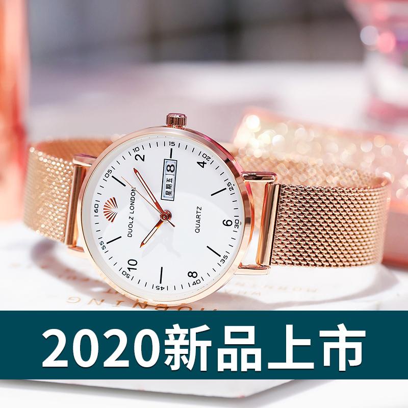 2019年新款手表女士学生ins风韩版时尚简约气质机械休闲防水女表