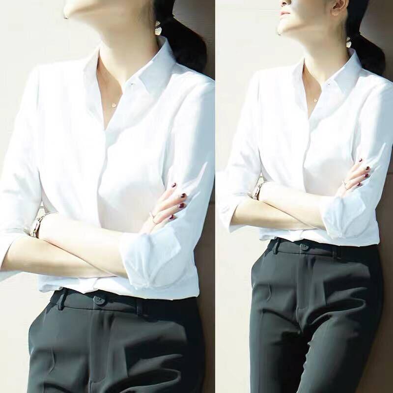 雀后白衬衫女职业长袖2021春装新款时尚正装设计感小众工作服衬衣