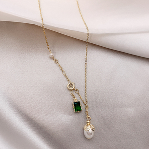 2019 summer new high-end natural pearl emerald temperament fashion elegant clavicle chain necklace women