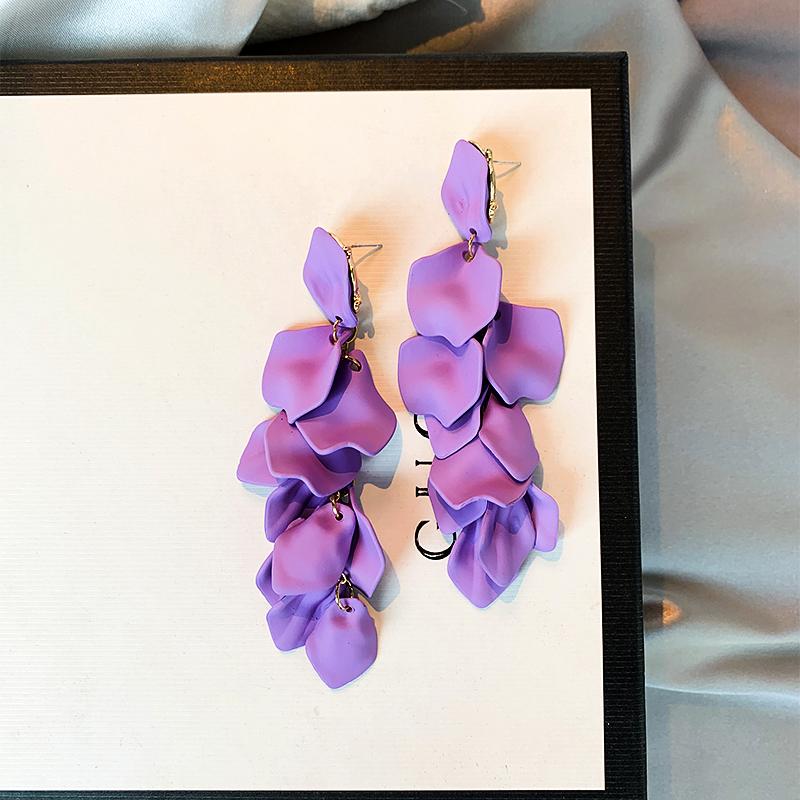 2019夏季新款耳环玫瑰花瓣紫色妖艳个性夸张女长款耳坠银针耳饰女
