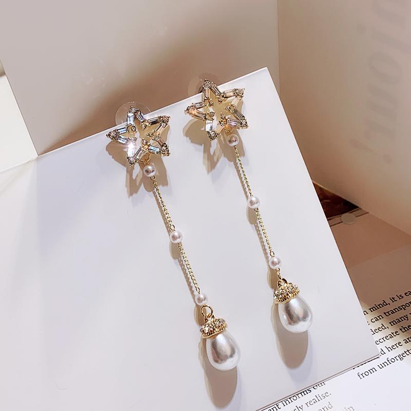 高级感锆石珍珠流苏耳环女小众显瘦长款气质网红五角星法式耳坠银