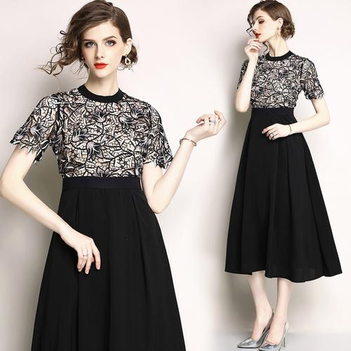 小视频现货9371欧洲站时尚高端蕾丝刺绣连衣裙 中长款礼服裙 -