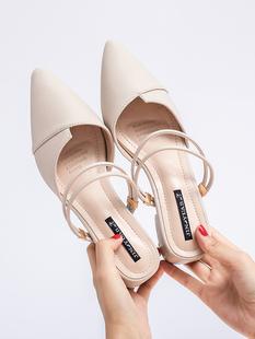 包头镂空一鞋两穿凉鞋女夏2018新款中跟尖头粗跟韩版百搭舒适复古