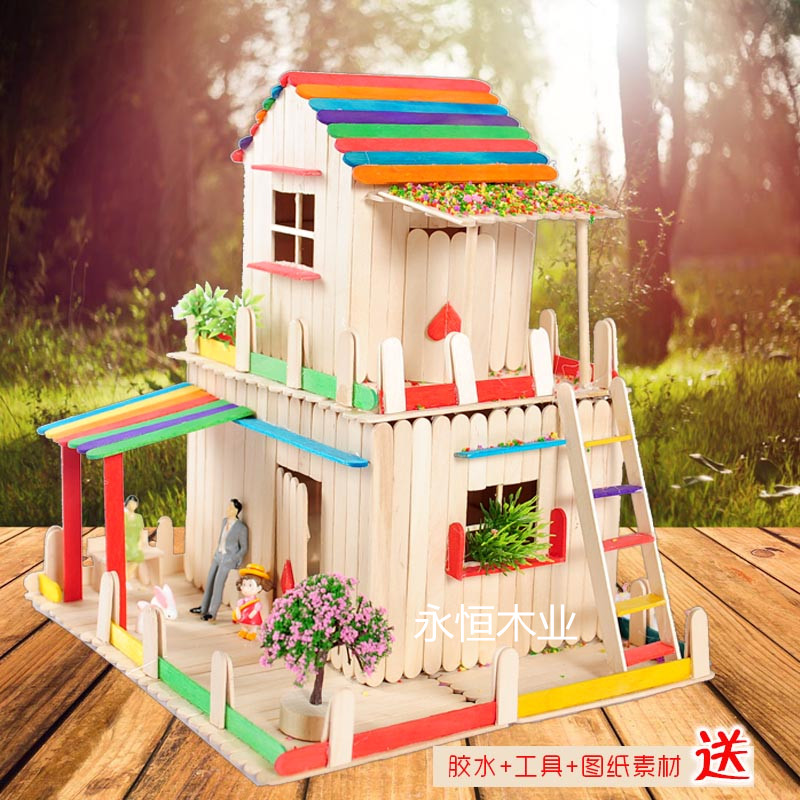 House Made By Waste Material Of Ice Cream Sticks Sticks Sticks Diy Handmade Model House