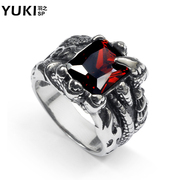 YUKI men''s defensive ring Europe and retro Ruby character index finger ring titanium Steel City Boy Club accessories