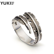 YUKI Thai silver feather silver ring 925 Silver jewelry men silver pinky ring finger single retro female couples