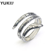 YUKI female silver jewelry 925 Silver ring ring girl Thai silver Europe man lovers silver snake ring ring SpongeBob