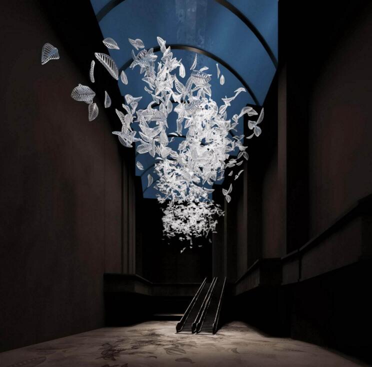 吊灯非标工程酒店复式楼沙盘水晶灯叶子飞鸟蝴蝶艺术玻璃前台灯具