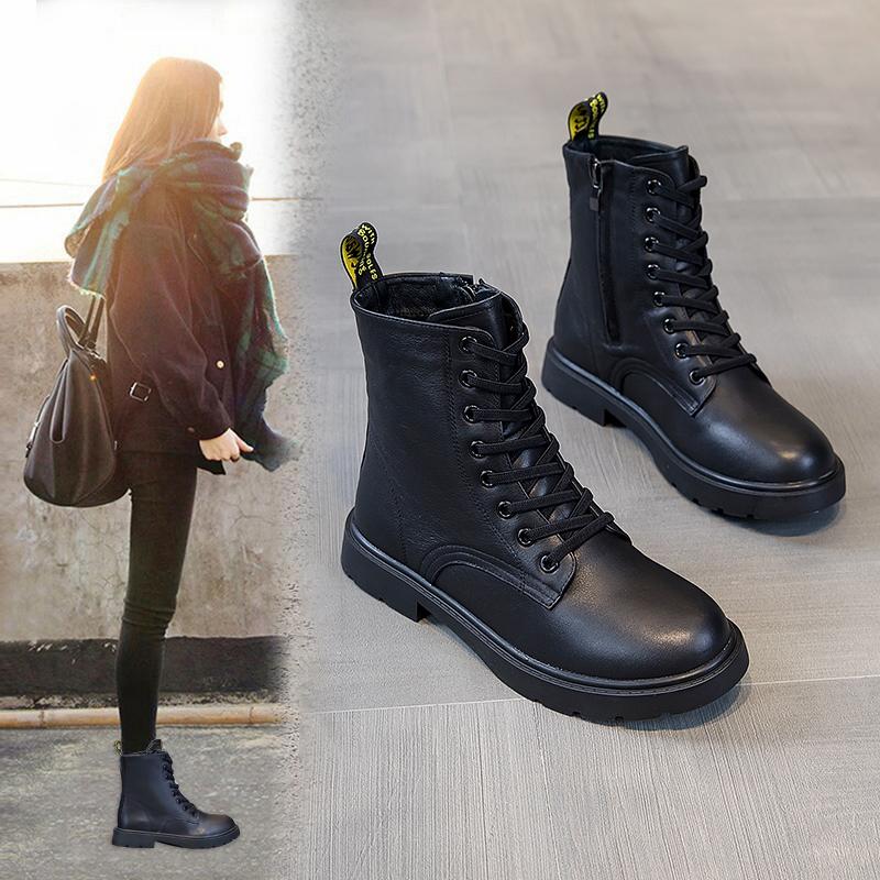 网红马丁靴女英伦风女鞋2019新款冬季加绒加厚百搭平底大码短靴41