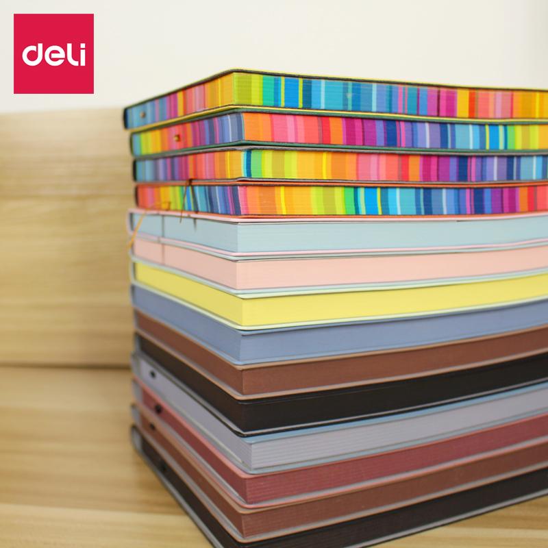 得力笔记本文具A5/16K加厚彩色软皮面办公记事本手账日记创意笔记大号考研本本子3183