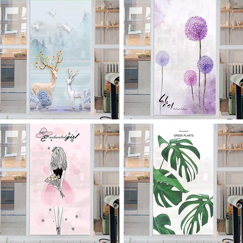 浴室卫生间窗户家用玻璃贴膜卧室遮光贴纸磨砂窗花纸防透光不透明