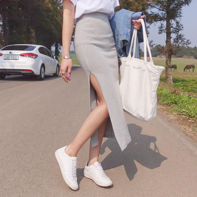 韩国2019夏季chic侧开叉性感显瘦修身高腰优雅中长款包臀半身裙女图片