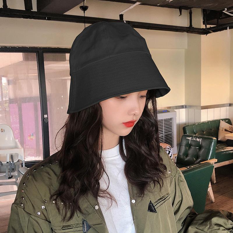 日本小众设计师款纯色复古水桶帽盆帽时尚街头渔夫帽子女潮显脸小
