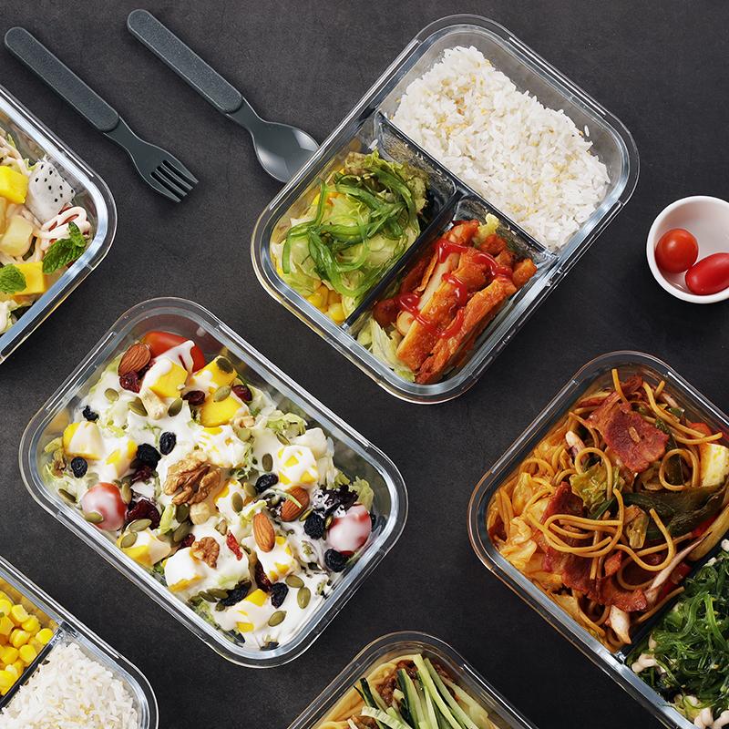 iCook饭盒便当盒学生韩国分格玻璃微波炉饭盒保鲜盒密封碗带盖
