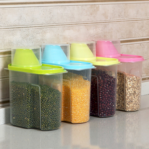 4pcs kitchen supplies large grains cans with lid sealed plastic storage box plastic small storage box