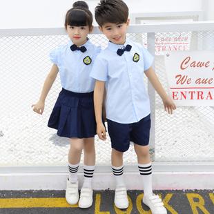2018新款幼儿园园服夏装英伦学院风纯棉校服演出服小学生班服定制