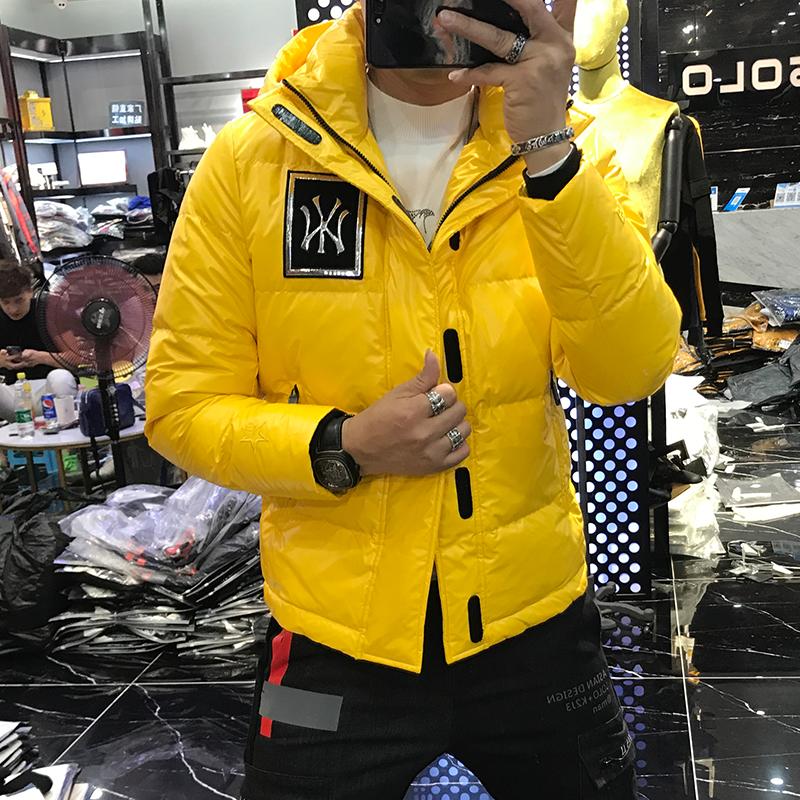 男士冬季外套2019新款韩版潮牌亮面个性潮流青年网红连帽羽绒服男