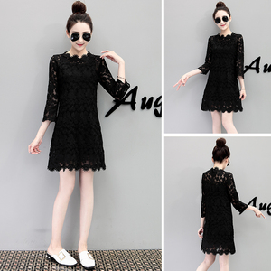 European station 2020 spring new black lace hollow seven-point sleeve dress female temperament was thin suit skirt tide