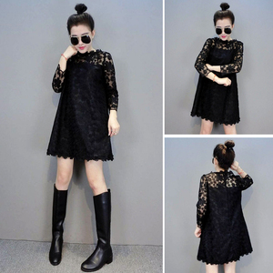 Lace dress 2020 spring was thin black hollow seven-point sleeves A-line fashion strap skirt skirt Europe station
