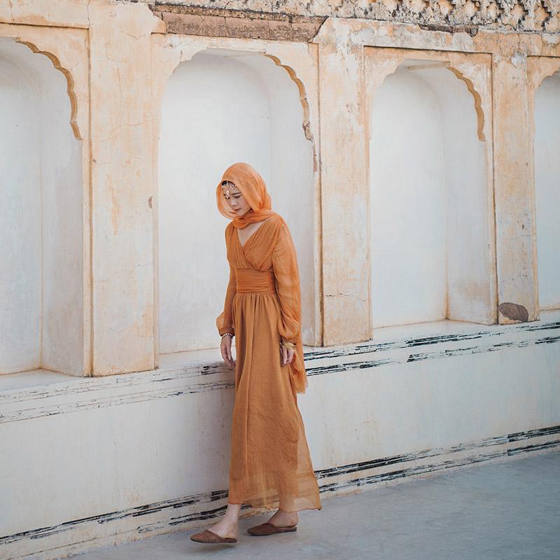 理想三旬旅行女装摩洛哥旅游度假民族风连衣裙复古显瘦沙漠长裙女