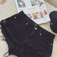 韩国新式黑色显瘦包臀po7感低腰宽ma破洞牛仔短裤热裤女夏装
