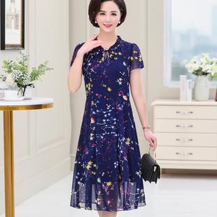 妈妈夏装短袖裙子2019新款中老年女士过膝春夏季洋气中长款连衣裙