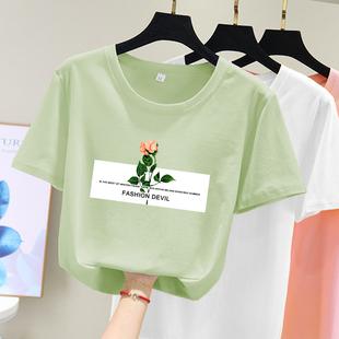 牛油果绿t恤女短袖2021新款夏韩版宽松体桖半袖抹茶绿色上衣ins潮