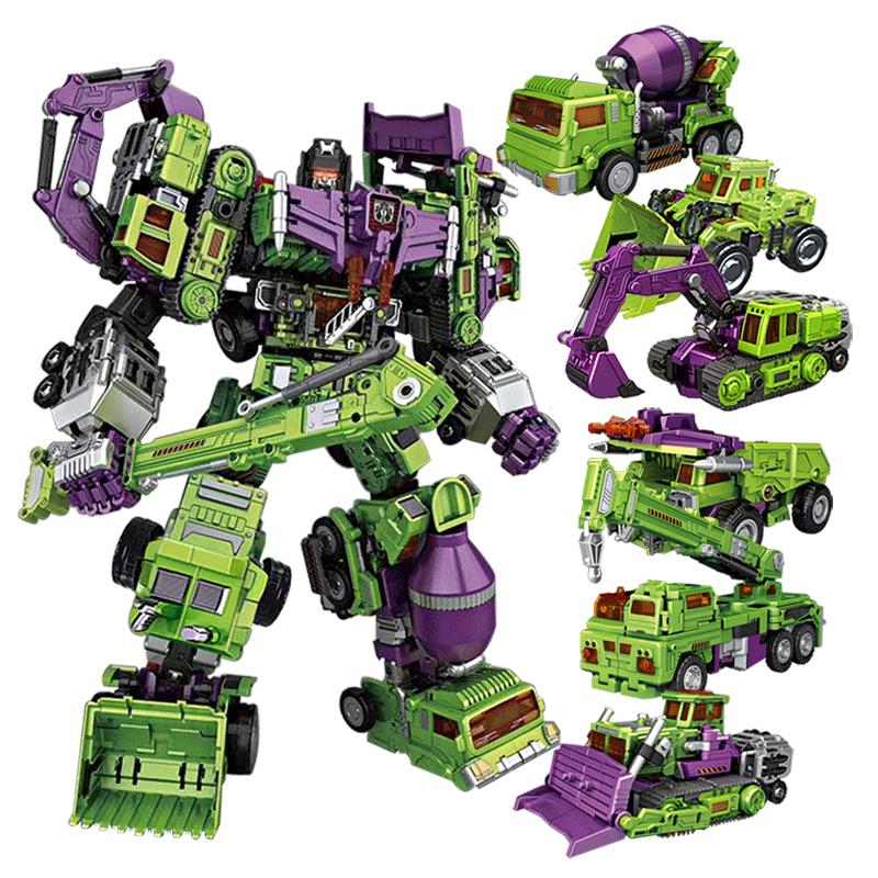 王者威将NBK变形玩具金刚合体拖斗挖掘机器人GT大力神工程搅拌车图片