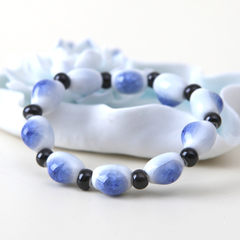 Blue songs drops Crackle ware fashion ceramic bead bracelets jewelry lovers clean bracelet