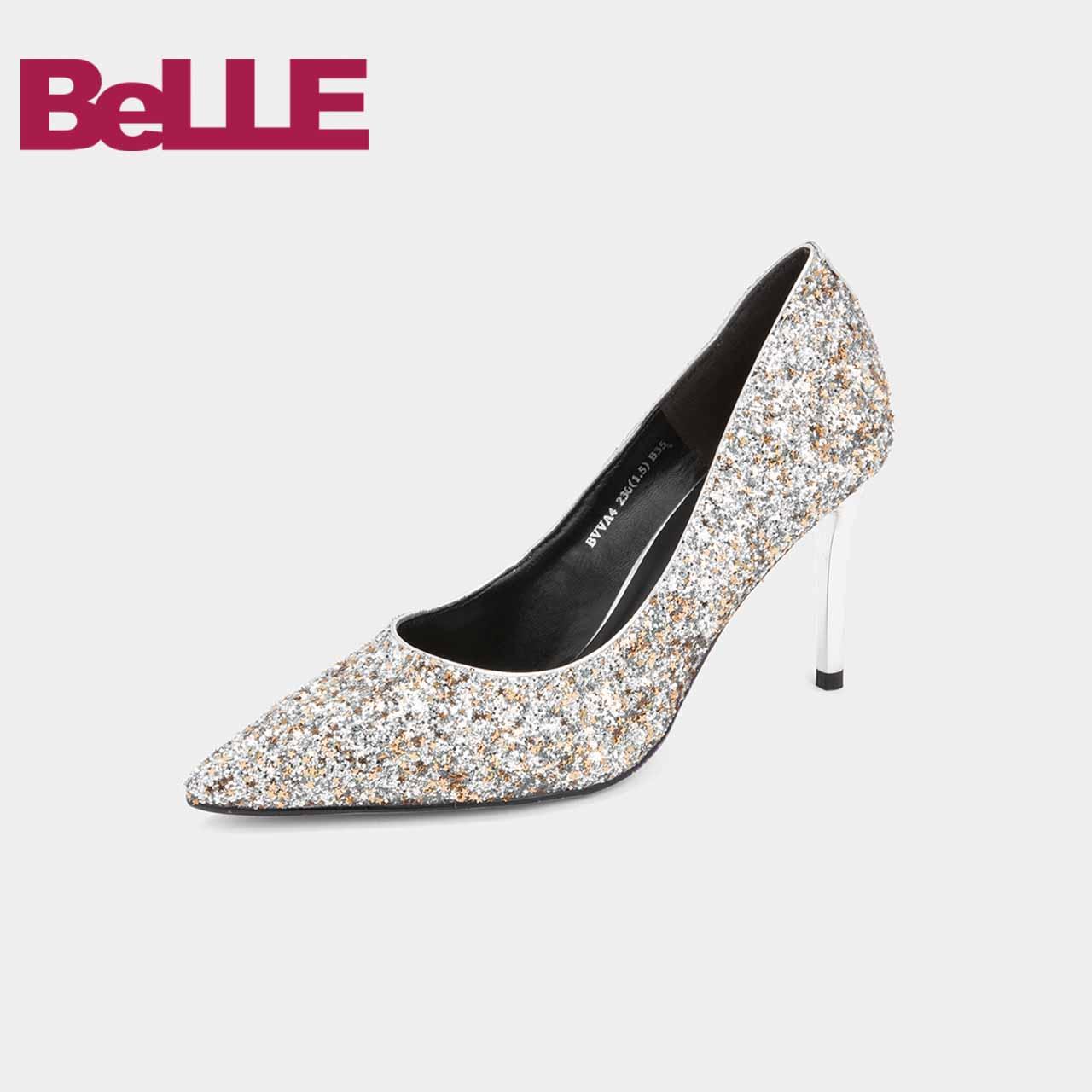 促百丽高跟单鞋女婚鞋2019春新商场同款亮片仙女风通勤鞋BVVA4AQ9