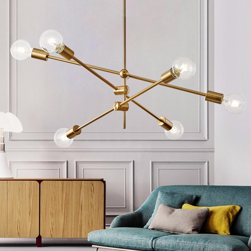 北欧客厅灯具卧室餐厅个性后现代简约极简欧创意几何线条网红吊灯_美时美家复古灯