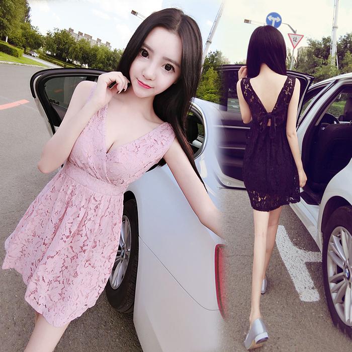 2018夏季新款韩版女装时尚夜店性感V领蕾丝修身连衣裙小礼服裙潮