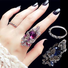 韩款时尚复古食中指指环zu8镶钻水晶an简约个性潮的学生饰品