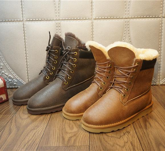 新款真皮羊皮毛一体雪地靴  系带保暖靴子  复古色
