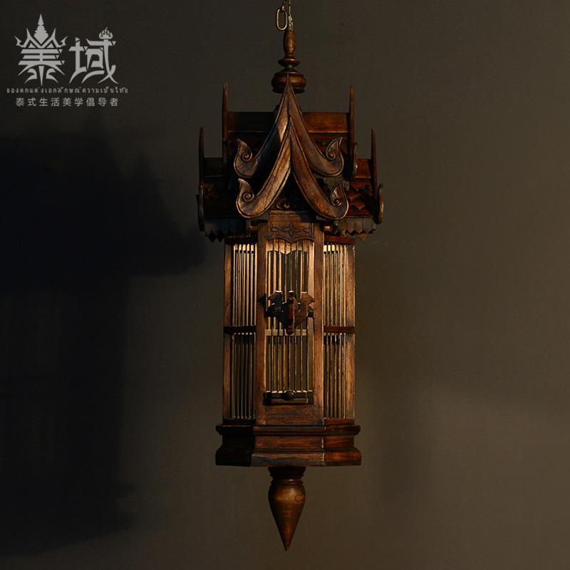 泰域 泰国手工鸟笼吊灯木雕灯饰装饰品 东南亚特色工艺礼品艺术品