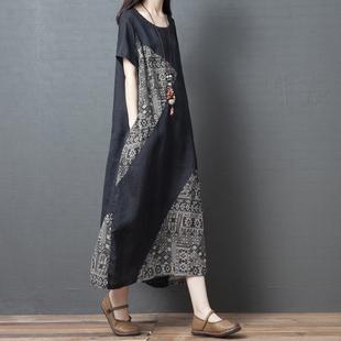 2020夏季新款宽松大码女装文艺复古拼接棉麻短袖连衣裙显瘦长裙子图片