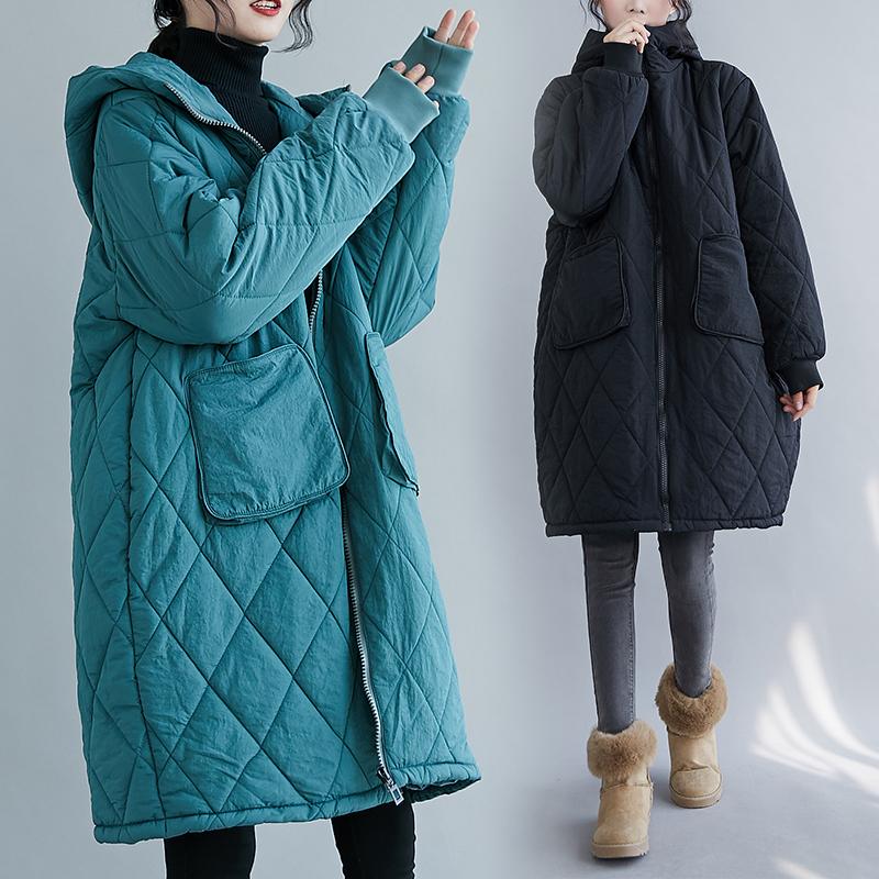 菱格棉服女冬装宽松大口袋连帽拉链外套中长款棉衣大码加厚棉袄潮