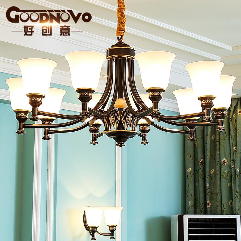 美式全铜吊灯现代简约客厅吊灯欧式餐厅卧室乡村田园纯铜复古吊灯